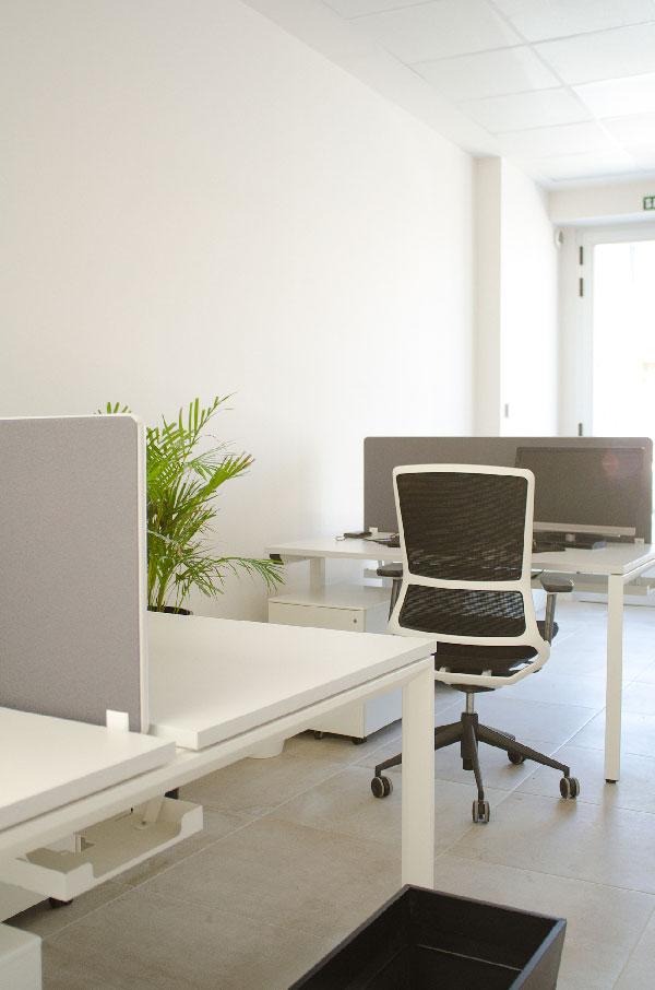 Zona de trabajo abierta en coworking Boadilla